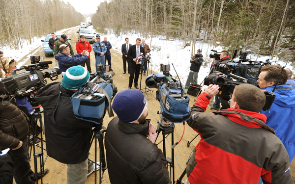 Maine State Police brief the press on the search and recovery of Jerry Perdomo's body by Maine State Police and game wardens on Wednesday, Feb. 29, 2012 about a half mile in the woods off Dahlia Farm Road in Newburgh.
