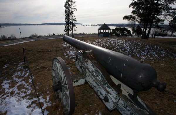 A historic canon sits on a crumbling carriage at Fort Allen Park in Portland on Tuesday morning, Feb. 14, 2012. Friends of the Eastern Promenade has plans to rehabilitate the park, including restoring the park's carriages.