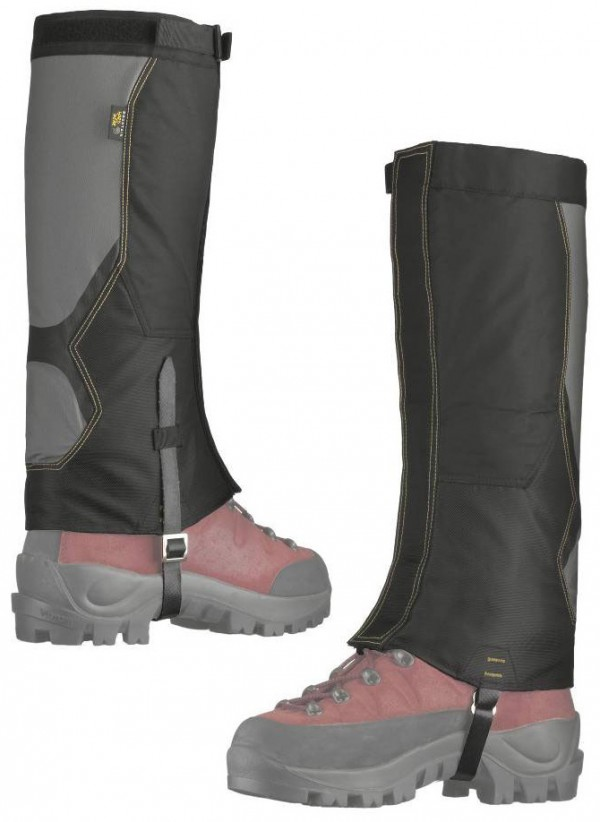 Mountain Hard Wear Ascent Stretch Air Permeable Gaiters strap on over your boots to keep out burrs and snow. Prices range from $50-$80 at www.mountainhardwear.com.
