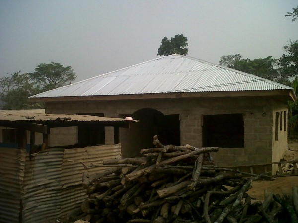 A new kitchen for the Baptist Orphanage and School Complex in Ghana, West Africa, planned and funded by Kristine Reid and Betty Jamison, is almost finished in January 2012.