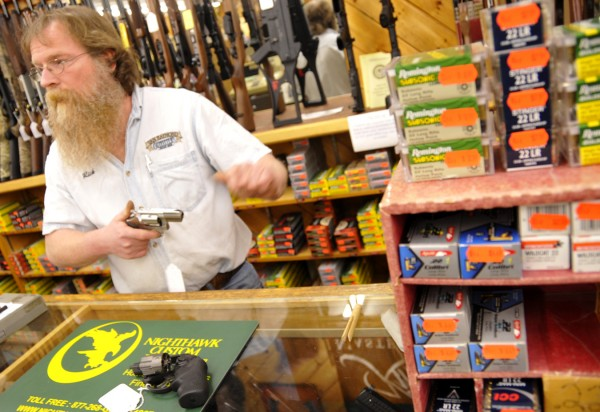 Rick Lozier, a manager at Van Raymond Outfitters in Brewer, talks about the uptick in gun sales with the recent local home invasions on Wednesday, Feb. 22, 2012.