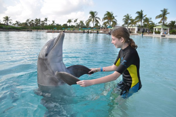 For her Make-A-Wish experience, 11-year-old Hannah Storey of Cumberland asked to visit Atlantis Resort in the Bahamas in January. Here, she dances with a dolphin. Her wish was made possible through donations to Make-A-Wish Foundation's Season of Wishes campaign.