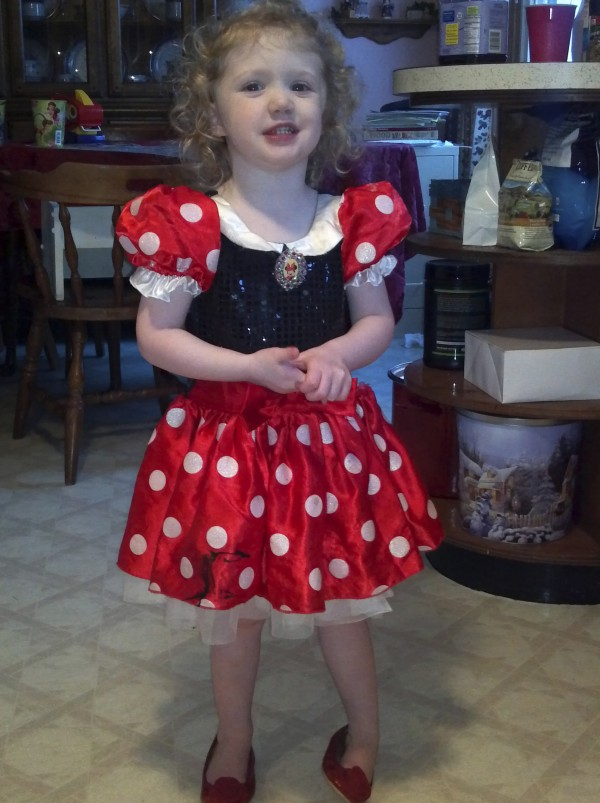 Hope Lillian Trott, 3, is pictured in this undated photo wearing the ruby red shoes she wore during her middle of the night walk to the local store in search of her mom on Feb. 22, 2012. The toddler walked more than a mile and was found unharmed at 4 a.m. by an employee.
