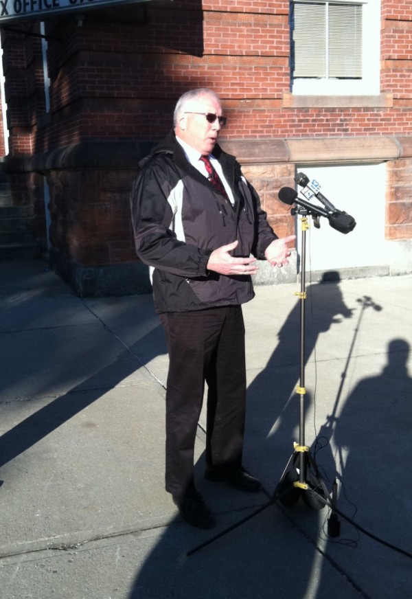 Waterville Police Chief Joseph Massey speaks during a press conference outside of Waterville City Hall on Saturday, Feb. 4, 2012.