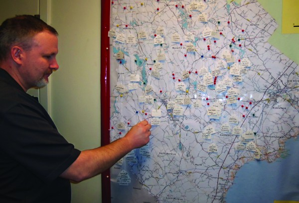 York County Sheriff's Office Det. Bill Vachon looks at a county map showing burglaries since November. There were 27 residential burglaries in January, nearly one a day, and deputies are asking residents to be on the lookout for suspicious activity.