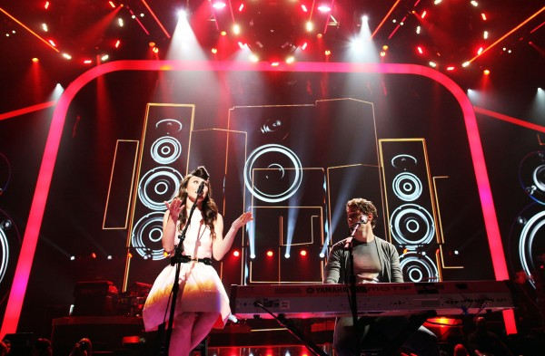Singers Amy Heidemann and Nick Noonan of the band Karmin perform onstage at the iHeartRadio Music Festival held at the MGM Grand Garden Arena on September 23, 2011 in Las Vegas, Nevada.