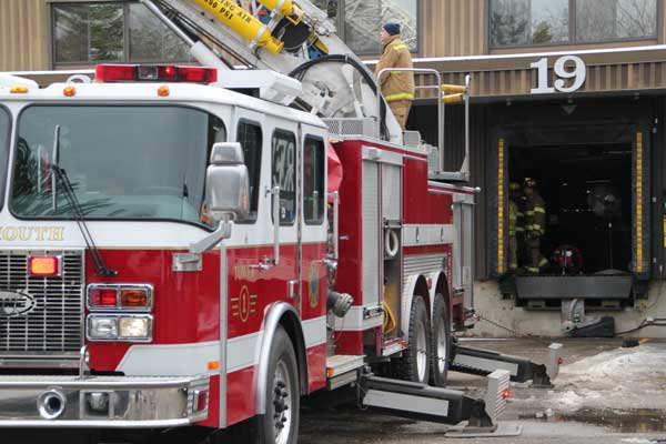 Freeport and Yarmouth firefighters responded to a suspected electrical fire in a piece of cardboard bailing equipment at L.L. Bean's 310,000-square-foot distribution center on Double L Road in Freeport Thursday.