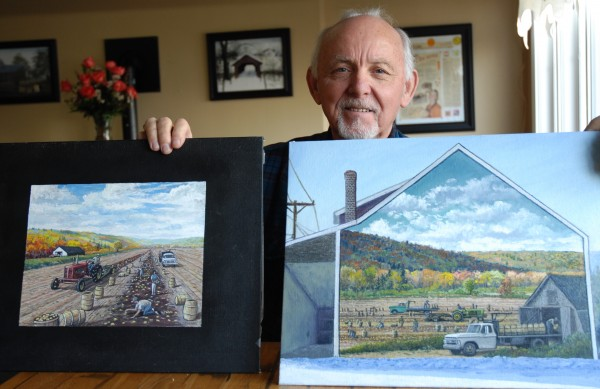 Reno Lagasse shows off two possible renditions of a proposed Fort Kent mural in honor of area farmers. The samples were provided by artist Darren Connors who has been selected to produce the final 35-by-15-foot mural on the old AD Soucy Farm Supply building on Market Street.