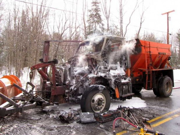 A plow truck with a sander caught fire and burned Saturday morning on Lucy Knowles Road in Farmington. The cause of the blaze was unknown.