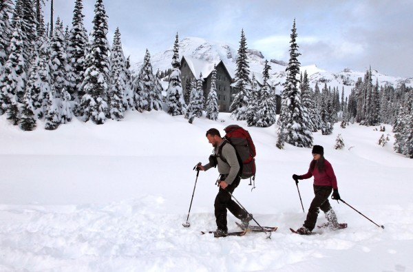 Jason and Karalee Gregg, of Enumclaw, Wash., snowshoeing in Mount Rainier National Park, Dec. 16, 2010. The mountain can be a paradise for snow lovers in the winter, but because of rapidly changing conditions, it can also be very dangerous, and users should be prepared for anything.