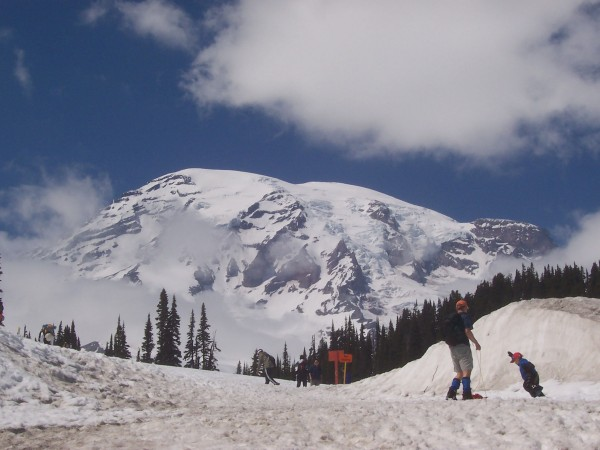 On a busy weekend, hundreds of people flock to the most popular winter destination at Mount Rainier National Park to take advantage of one of the snowiest spots on Earth. The Mountain, as it is called locally, got nearly 1,000 inches of snow in 2007-2008. Snow will remain on some trails into August.