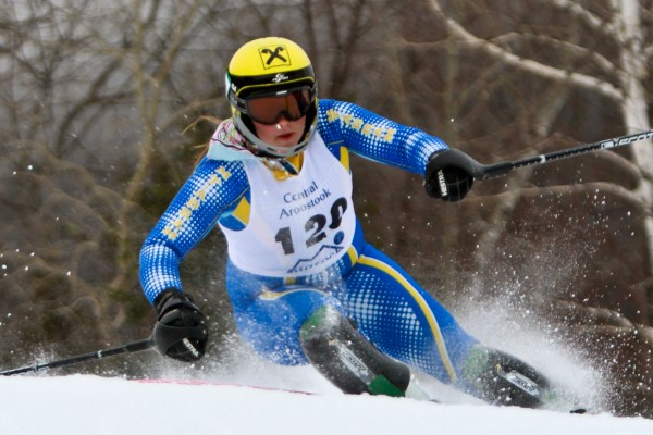 At Big Rock Ski Area in Mars Hill, Elise Luce of Mount Abrams is the Maine State Class B champion in both Giant Slalom and Slalom. Her combine run time was 1:18.91 in  the Giant Slalom races held yesterday and in the Slalom race held today. Her time was 1:25.94.