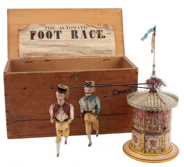 "The circa 1880s ""Automatic Foot Race"" British toy sold for $18,400 in a recent Noel Barrett auction."