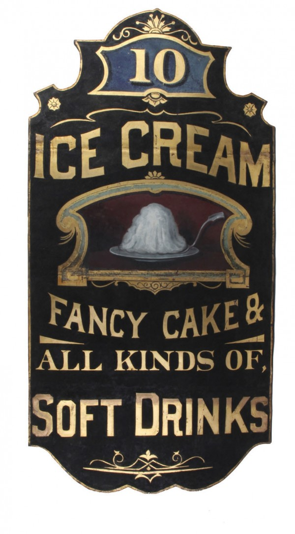 This antique sign advertising ice cream, cakes and sodas is thought to have come from a shop on Atlantic City's boardwalk. It sold for $46,000 in a recent Noel Barrett auction.