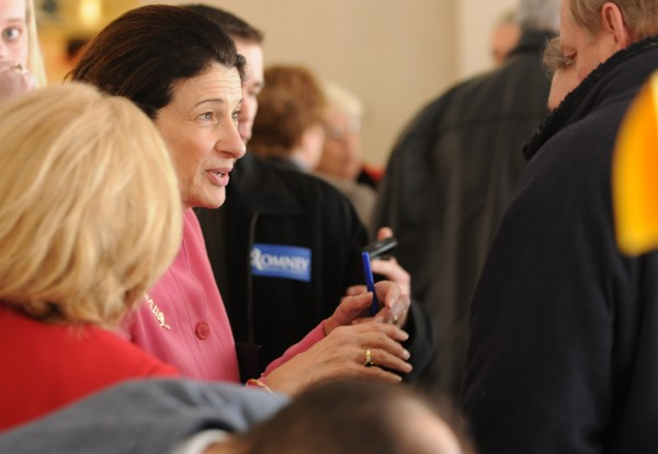 Senator Olympia Snowe chats with members of the public at Husson University on Saturday, Feb 4, 2012 as 24 Penobscot County towns held a super caucus.