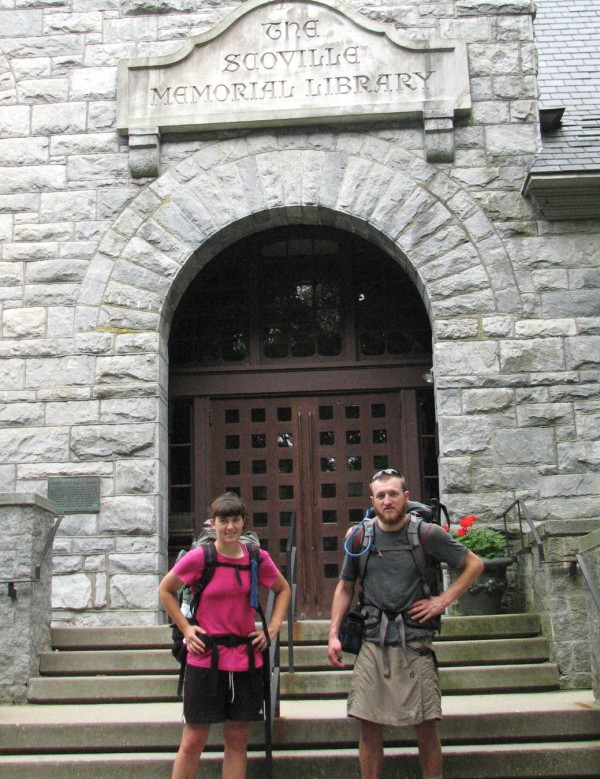 Cindy Koscielny of Dexter and Elias Hershbine of Exeter stand in front of the Scoville Memorial Library in Salisbury, Conn., taking an in-town break from hiking the Appalachian Trail during the summer of 2010. On the trail, they are known as Blush and Phantom.