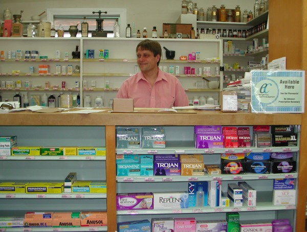 Pharmacist Michael Gilfillan of the West End Drug Company was the only Hancock County pharmacist who can provide emergency contraception without a prescription in 2005.