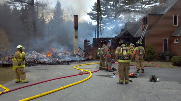 A fast-moving fire destroyed a house and garage Thursday afternoon in South Thomaston.