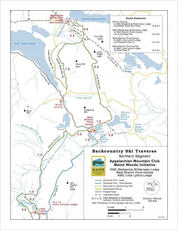 The Appalachian Mountain Club 2012 trail maps are updated from last year because in the past year, AMC has added 12 additional miles of trails to the network surrounding their three Maine Wilderness Lodges near Greenville, Maine.