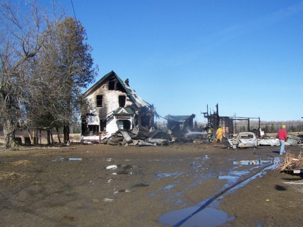 The farmhouse at 45 Rowell Road was the site of a Saturday morning fire.