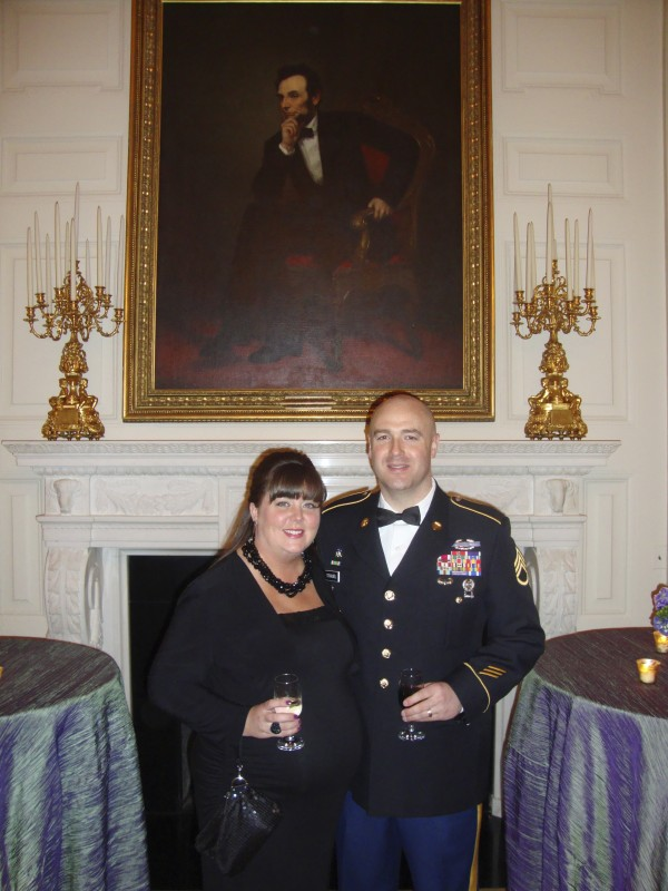 Maine Army National Guard Staff Sgt. Benjamim Straubel and his wife Robyn of Hermon in the State Dining Room. The two were guests at Wednesday's &quotA Nation's Gratitude: Honoring those who served in Iraqi Freedom and Operation New Dawn&quot dinner at the White House hosted by President Barack Obama and first lady Michelle Obama.