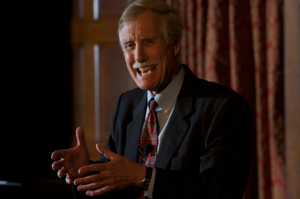 Former Maine Gov. Angus King announces his independent candidacy for the U.S. Senate Monday night March 5, 2012, after giving a lecture on leadership at Bowdoin College in Brunswick.