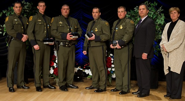A group of seven U.S. Customs and Border Patrol agents were honored in Washington, D.C. on Friday, March 2, 2012, for demonstrating bravery and exemplary effort during separate incidents in Houlton and Jackman last year. The agents risked their lives to try