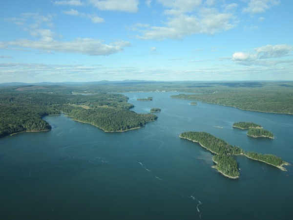 This aerial shot shows the Bagaduce River watershed on Blue Hill peninsula, looking north toward Penobscot. Three land trusts recently received $1 million in federal matching funds for 13 conservation projects in the watershed.