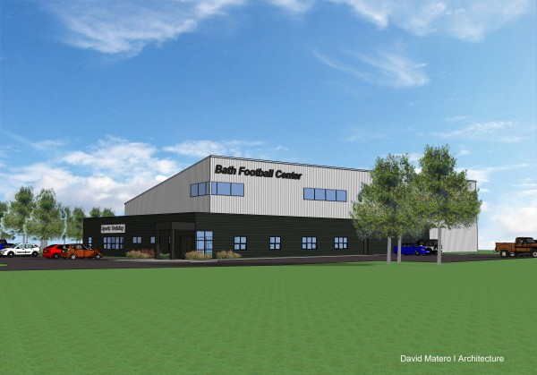 This architectural rendering shows the design of the Bath Football Center, which a group of locals is proposing to build for local sports teams and clubs to use year-round.