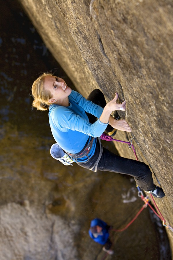 California-based rock climber Beth Rodden climbing Meltdown, grade 5.14c, in Yosemite Valley, Calif., in 2008.
