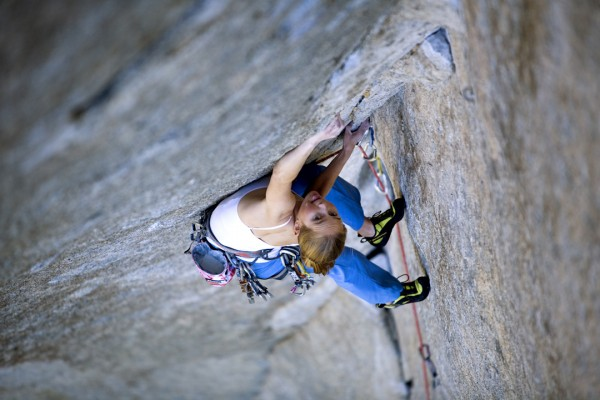 California-based rock climber Beth Rodden works through stemming and finger locks on Grand Illusion (5.13c) in Sugarloaf, Calif.