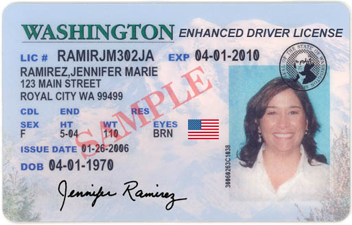 This image made available Friday, March 23, 2007, by the Washington State Department of Licensing shows a &quotproposed design option&quot for the new drivers' licenses that is being presented to the Dept. of Homeland Security by the state of Washington. The enhanced driver's license was aimed at easing border crossings into British Columbia, possibly in lieu of a passport.