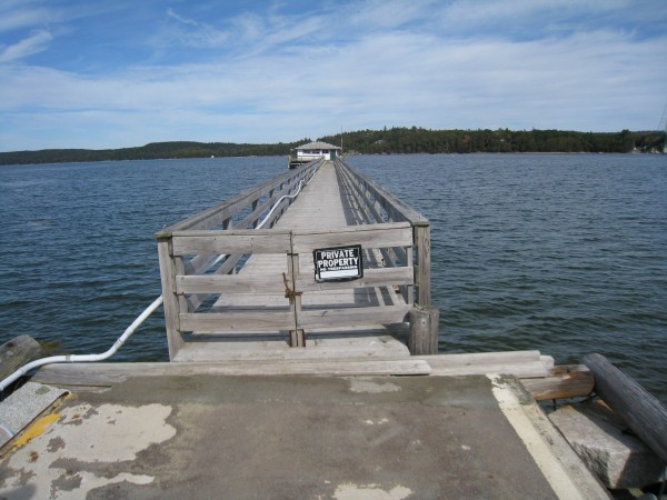 This 300-foot-long pier is included in a propertyon Little Deer Isle, known as Bridge End, that Maine Coast Heritage Trust hopes to purchase and then donate to the town of Deer Isle.
