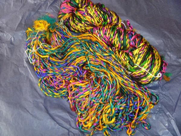 Reclaimed sari silk yarn.
