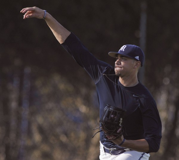 UMaine relief pitcher Luke Morrill at baseball practice in Orono, Tuesday, March 20, 2012.