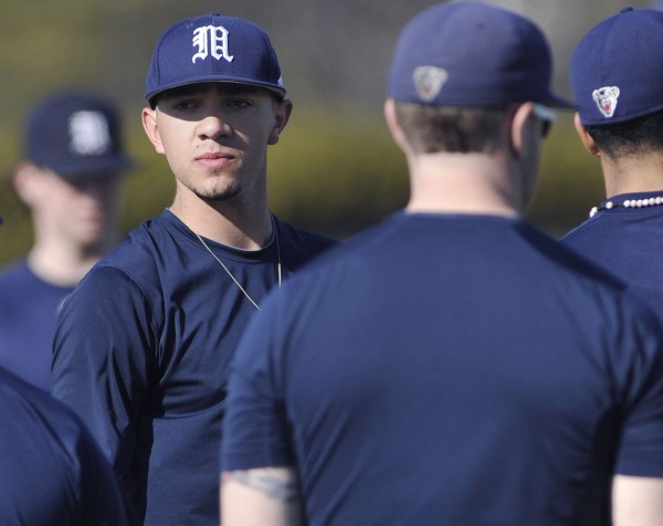 UMaine relief pitcher Like Morrill and  teammates queue up near the mound during practice drills in Orono Tuesday, March 20, 2012.