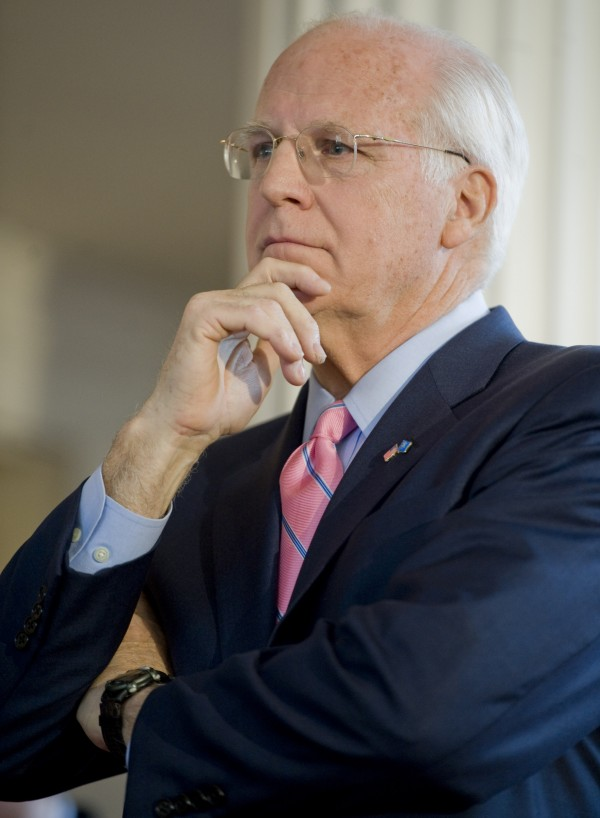 Former Connecticut U.S. Rep. Christopher Shays listens to his wife, Betsi, speak at the Old State House in Hartford, Conn., during a formal announcement that he is seeking the nomination to become the Republican candidate for U.S. Senate in January 2012.