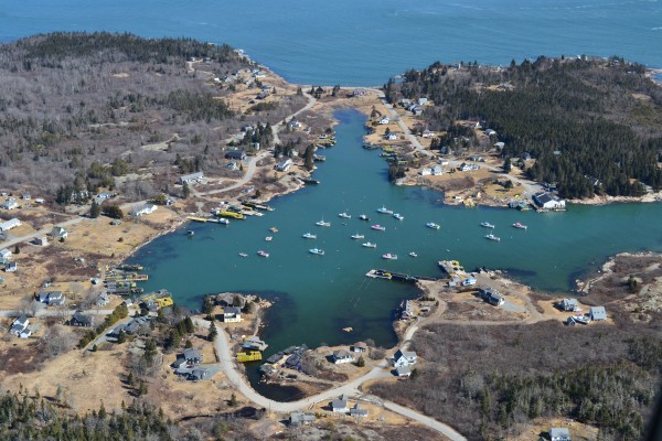 Aerial photo taken March 10, 2012 of the fishing village of Corea, Maine on the southeastern part of the Gouldsboro Peninsula.