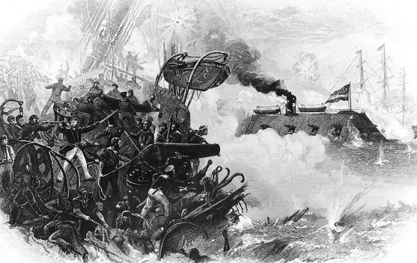 Their ship sinking beneath them, crewmen aboard the USS Cumberland battle the Confederate ironclad CSS Virginia off Newport News, Va. on March 8, 1862. Marine Capt. Charles Heywood fired the last cannon shot from the Cumberland's decks before the ship sank in Hampton Roads.