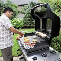 "Weber calls the Spirit series the ""best entry-level stationary cart gas grill on the market."" This model features stainless-steel cooking grates. Its various parts carry warranties from 2 to 25 years, in contrast to the typical one-year warranty across the board for typical inexpensive big-box grills."