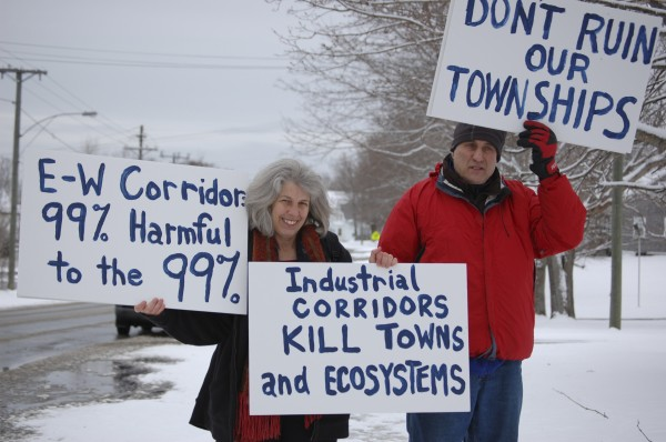 Protesters from Dover-Foxcroft express their opposition to building an east-west highway across Maine.