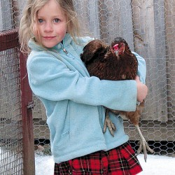 Emma Westrich and Rainbow the chicken.