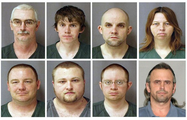 This file combo of eight photos provided by the U.S. Marshals Service on Monday March 29, 2010 shows, from top left, David Brian Stone Sr., 44, of Clayton, Mich,; David Brian Stone Jr. of Adrian, Mich,; Jacob Ward, 33, of Huron, Ohio; Tina Mae Stone and bottom row from left, Michael David Meeks,  40, of Manchester, Mich,; Kristopher T. Sickles, 27, of Sandusky, Ohio; Joshua John Clough, 28, of Blissfield, Mich.; and Thomas William Piatek, 46, of Whiting, Ind., suspects tied to Hutaree, a Christian militia.