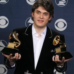 John Mayer poses with his two awards at the 47th annual Grammy Awards on Sunday, Feb. 13, 2005, at the Staples Center in Los Angeles.