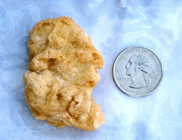 In this Feb. 21, 2012 file photo, a McDonald's Chicken McNugget found by Rebekah Speight of Dakota City, which she believes resembles President George Washington is placed next to a U.S. quarter dollar bearing the image of the president. Speight sold the three-year-old nugget for $8,100 on eBay.