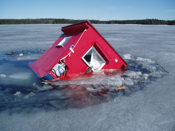 An ice-fishing shack on Round Pond, located between Telos and Chamberlain lakes in Piscataquis County, threatened to fall through the ice last week, but was saved by the quick action of the Maine Warden Service and several fishermen. Allagash Wilderness Waterway rangers are warning of unsafe conditions on Allagash headwater lakes.