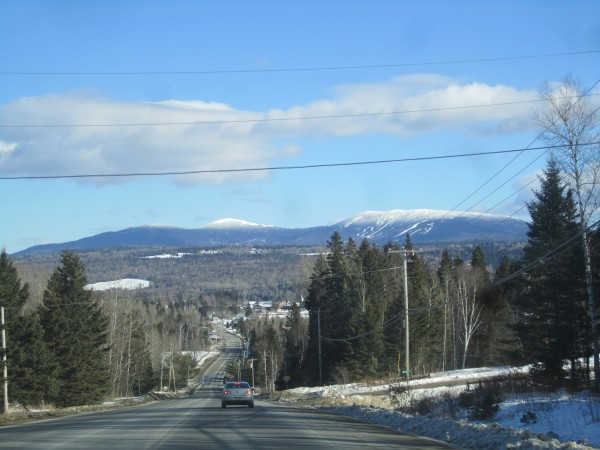 A view of Saddleback Mountain, coming in to Rangeley, Maine.