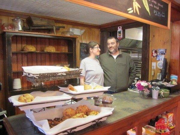 Nicole Lund and Bob Dea, behind the bakery counter at the new Camp Do What You Wanna General Store.