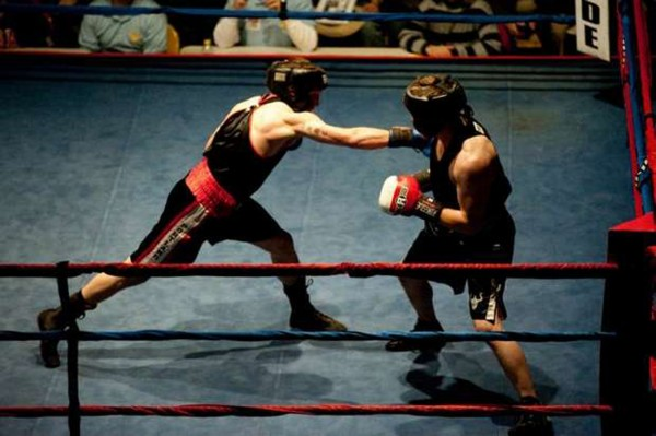 Marine infantryman Jayson Richter (left) connects on a punch during a bout stateside.