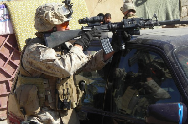 Jayson Richter during one of his two deployments in Iraq as a Marine infantryman.